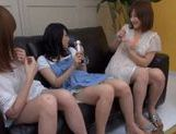 Three cute and horny teenage Asian babes playing with cock picture 12