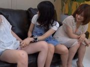 Three cute and horny teenage Asian babes playing with cock