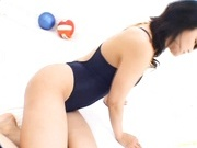 Flexible Maria Ozawa in swimsuit fucks two dudes