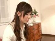 Cute Japanese AV model fucks amateur with strap-on