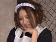 Rune Tsukishiro sucks cock in waitress uniform
