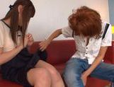 Busty Kirara Asuka and her girlfriend kissing and strap-on fucking