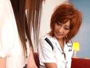 Busty Kirara Asuka and her girlfriend kissing and strap-on fucking