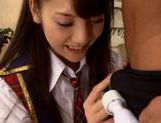 Cock sucking Rei Mizuna in schoolgirl uniform likes it from the rear picture 1