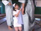 Crazy kinky nurse Mito Suzuki make a double blowjob and gets cum in mouth. picture 2