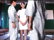 Crazy kinky nurse Mito Suzuki make a double blowjob and gets cum in mouth.