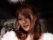 Busty angel Momoka Nishina grants a horny teen his sexy prayer