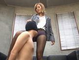 Lovely blond babe Aika in tight pantyhose teasing and hardcore fucked picture 6