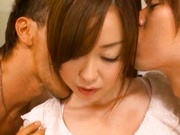 Yuu Shinoda ass eating and double blowjob