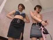 Young asian Riho Nanase enjoys fucking in threesome