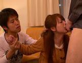 Redhead Japanese milf Akiho Yoshizawa gives head and gets facial picture 5