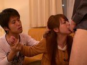 Redhead Japanese milf Akiho Yoshizawa gives head and gets facial