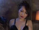 Glorious Japanese AV model in sexy black dress bounces on cock picture 1