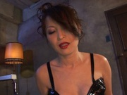 Glorious Japanese AV model in sexy black dress bounces on cock