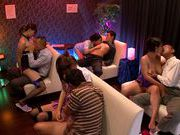 Four Cock Sucking Asian Chicks In A Blowjob Orgy