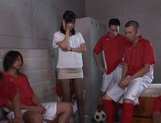 Tsukasa Aoi gang banged in the classroom by horny lads picture 2