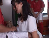 Tsukasa Aoi gang banged in the classroom by horny lads picture 5
