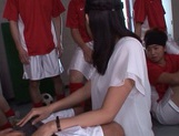 Tsukasa Aoi gang banged in the classroom by horny lads picture 6
