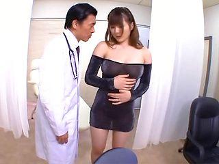 Busty hottie in transparent dress Momoka Nishina gets her tits fucked