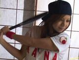 Kana Kawai Asian babe masturbates in baseball uniform
