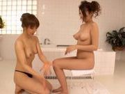 Two Sexy Lesbians Naked And Soapy In The Bathroom
