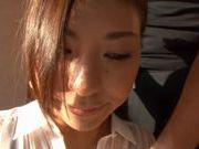 Skinny and long legged Asian babe Haruka Nagao teasing and pussy fondled