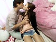 Nice Asian babe gets a good hard fuck by a horny guy.horny asian, japanese pussy}