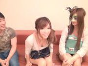 Rina Katoh And A Girlfriend Tag Team A Lucky Guy's Cock