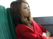 Sexy Nao Yoshizaki rides cock like crazy on a bus!
