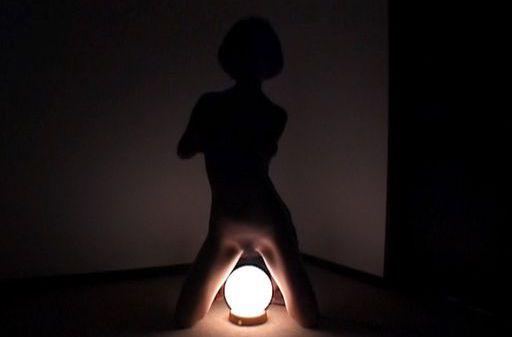 Asian babe Kana Sakaguchi dildo fucking in a semi-dark room