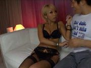 Sexy blonde Asian uses her whole body to get him off