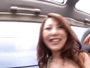Milf babe Shiho kanou sucks cock and gets vibrator in a car