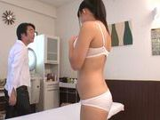 Beautiful oiled Asian teen Rino Nanse enjoys rear banging