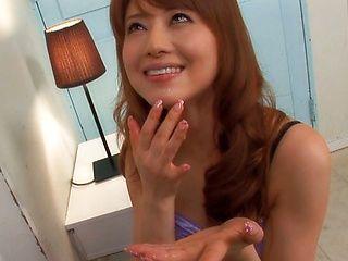 Akiho Yoshizawa gives delivery boy a hot sloppy blowjob!