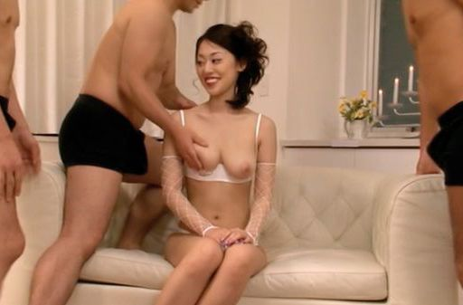 Hot big tits babe Ann Yabuki enjoys a group of cocks