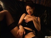 Rina Himekawa Loves Masturbating In Leather Lingerie