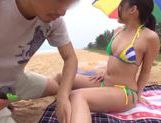 Lovely Japanese AV Model hot milf in mini bikini gets fingered