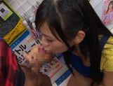 Nana Ogura gives hot double blowjob picture 12