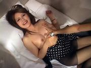 Cute and sexy brunette babe in skirt and stockings sucking hard cock and get boned deepasian wet pussy, japanese sex}