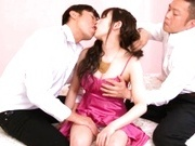 Asian Cutie Rico Yamaguchi Sucking Two Dicks