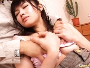 Sexy Asian Haruna Ayase gets a dildo in her pretty pink pussy.