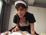 Kinky maid Riko Tachibana makes a hot blowjob and gets cum in mouth. picture 10