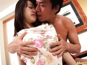 Nice and cute Karin takes a big cock in bed.