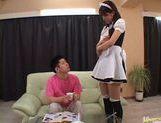 Hot maid Riko Tachibana masturbates herself with a big dildo.