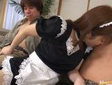 Outstanding maid Yui Asahina gives an excellent blowjob and takes cum. picture 11