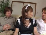 Outstanding maid Yui Asahina gives an excellent blowjob and takes cum. picture 3