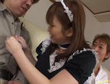 Outstanding maid Yui Asahina gives an excellent blowjob and takes cum.