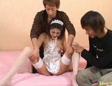 Aki Anzai gets gangbanged by two horny guys and gets the cum shot in the face picture 13