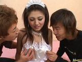 Aki Anzai gets gangbanged by two horny guys and gets the cum shot in the face picture 4