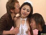 Aki Anzai gets gangbanged by two horny guys and gets the cum shot in the face